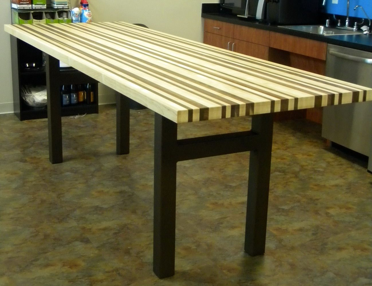 Custom Maple And Walnut Breakroom Counter Height Table By North - Custom counter height table