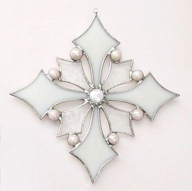 Custom Made Snowflake-Victorian -In Textured Clear And Snow White Stained Glass