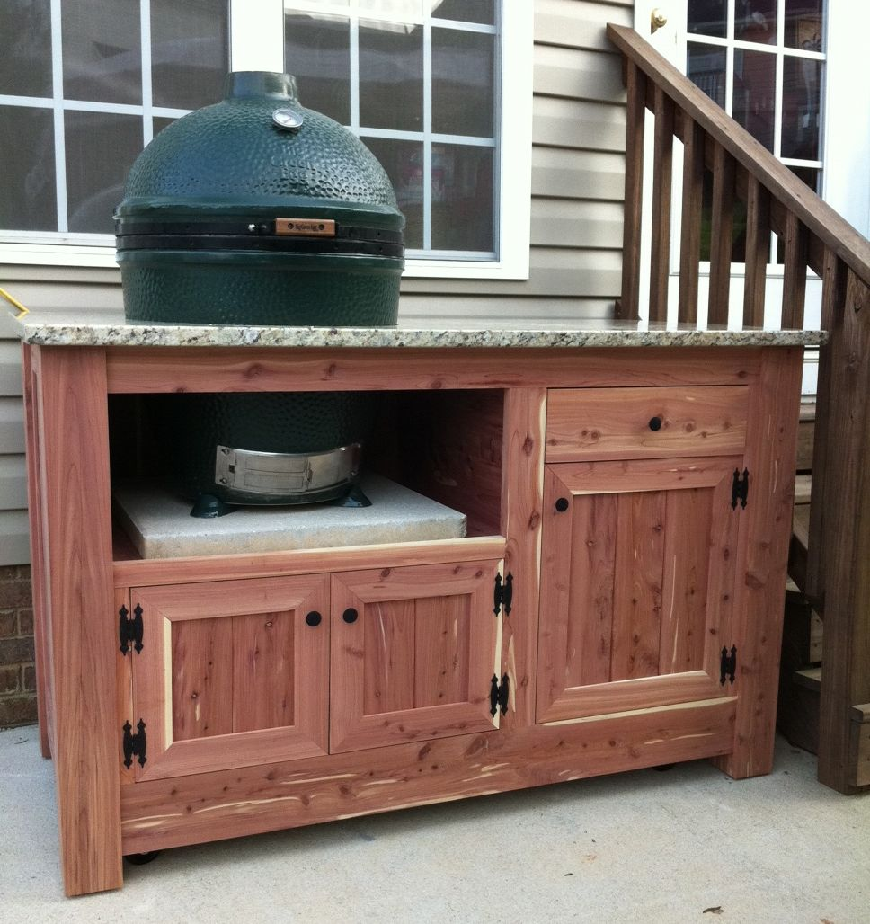 Hand made green egg cabinet by carolina wood designs for Outdoor grill cabinet plans