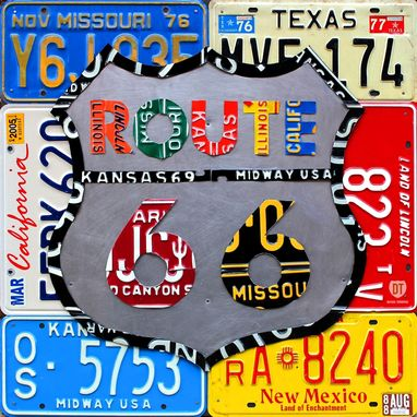 Custom Made Route 66 License Plate Art Wall Decor