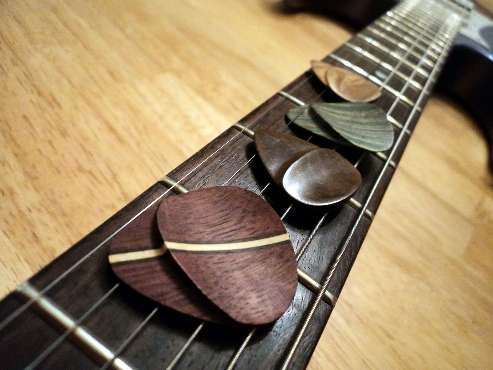 Buy a Custom Wooden Guitar Picks With Hand-Shaped Thumb Grip, made ...