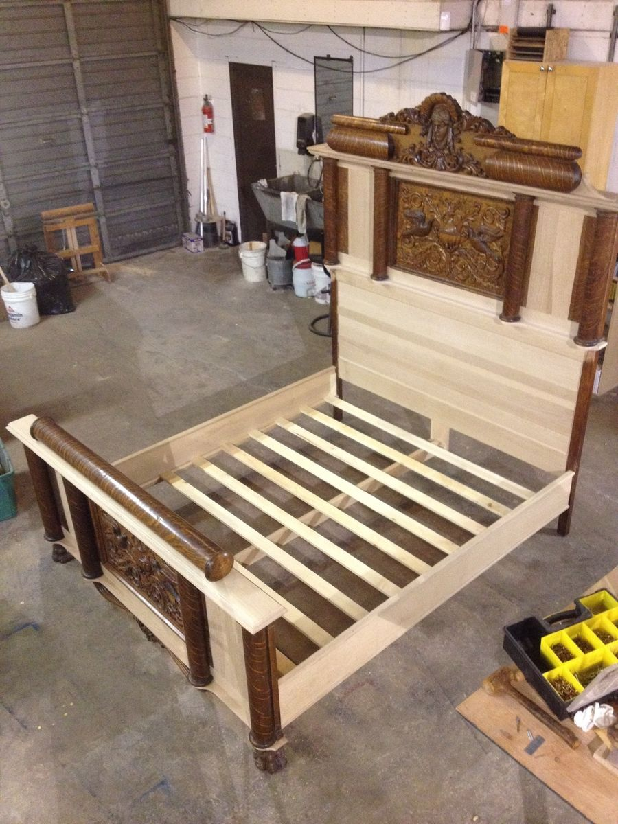 Custom Made Antique Quarter-Sawn White Oak Bed Expansion - Hand Made Antique Quarter-Sawn White Oak Bed Expansion By A&E Fine