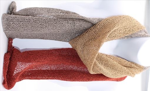 Custom Made Earth Tone Handknit 3 Color Rayon Scarf
