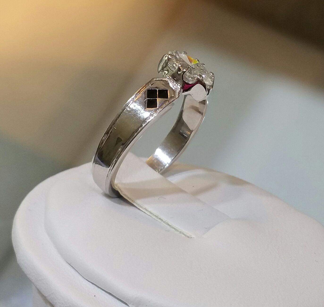 Custom Made Batman Marquise Cut Engagement Ring 14 Kt White Gold