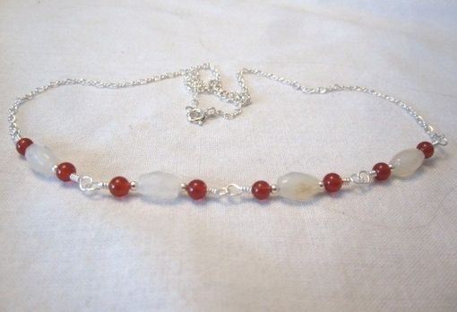 Custom Made Carnelian & White Agate Sterling Silver Necklace