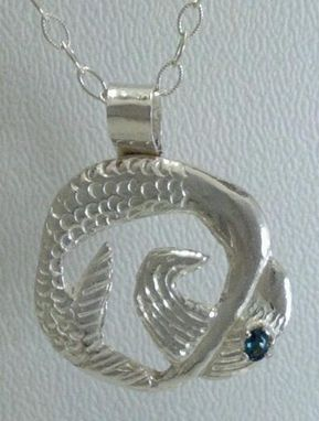 Custom Made Mermaid Pendant With Gemstone, Sterling Silver