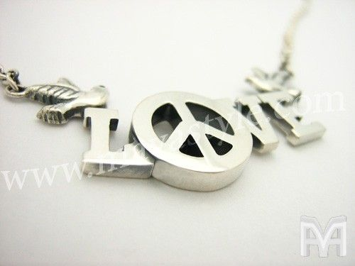 Custom Made Custom Sterling Silver Peace Love Birds Necklace Chain