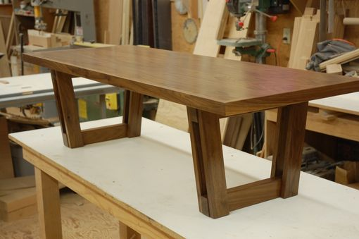 Custom Made Modern Walnut Bench With Original Trestle Base