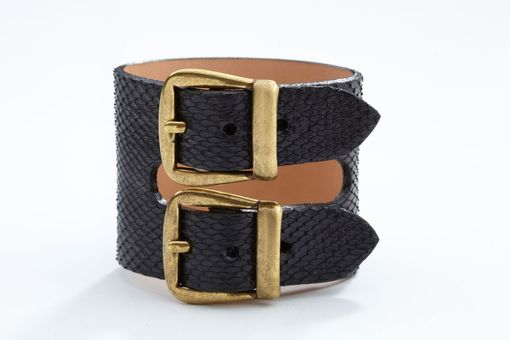 Custom Made Genuine Python Double-Buckle Luxury Bracelet/Cuff In Black - Exotic Leather