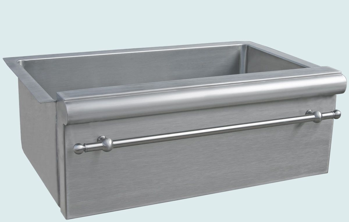 Handmade stainless sink with bullnose apron towel bar by for Designer stainless steel sinks