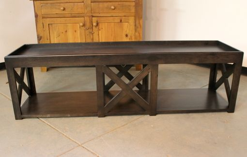 Custom Made Wood Bench With X Base