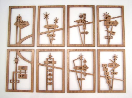 "Custom Made Mahogany 8-Panel Mid-Century Modern Fretwork Collage ""Googie Signs 3"""
