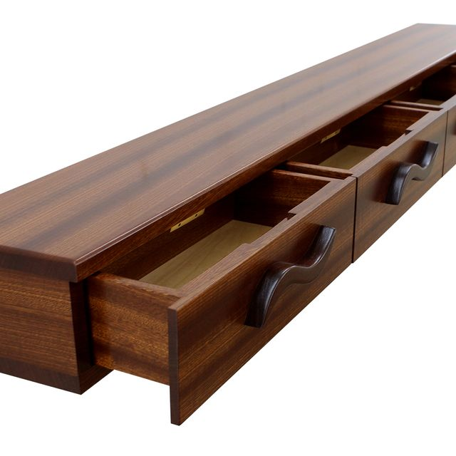 Hand Crafted 4 Drawer Floating Shelf Solid Wood Carved Pulls Made To Order From Nick Jones Designs Custommade