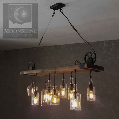 Custom Made The Chesapeake Wood Plank Chandelier With Edison Lightbulbs