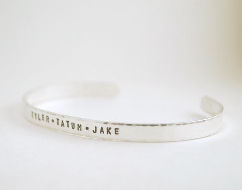 Custom Made Personalized Silver Cuff Bracelets Hand Stamped With Custom Names