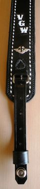 Custom Made Ric's Leather Guitar Strap With Buckstitching And Conchos