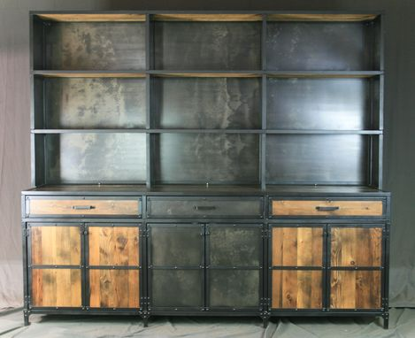 Custom Made Industrial Credenza/Buffet With Hutch. Rustic Bar With Shelving. Vintage Industrial. Display Shelf.