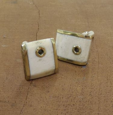 Custom Made Bone And Brass Cufflinks