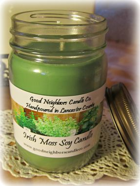 Custom Made Soy Candle, Irish Moss, Green, 12 Ounce, Fresh Scent, Daisy Cut Lid