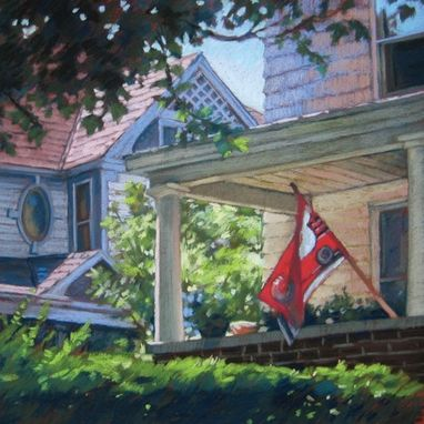 Custom Made Painting Of An Old House Porch, 18 X 18 Inches