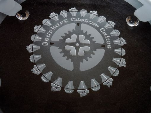 Custom Made Etched Glass Business Logo On Serving Dish-Plate - Gear And Cupcake Design
