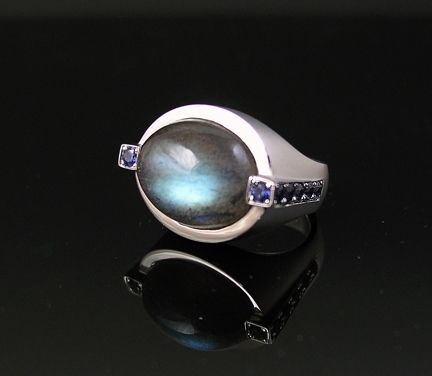 Custom Made Labradorite Cabochon And Sapphire Ring - Modern/Art Deco