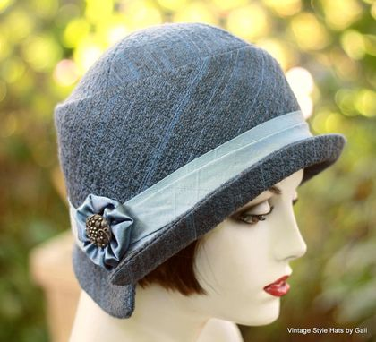 Custom Made Womens Hat In A Cloche 1920'S Vintage Great Gatsby Style  Steel Blue