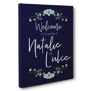 Custom Made Navy White Welcome To Our Wedding Ceremony Canvas Wall Art