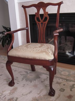 Custom Made Side And Arm Chair, Chippendale, Townsend Style, Mahogany