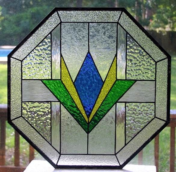 Custom Made Geometric Octagon Stained Glass Window By A
