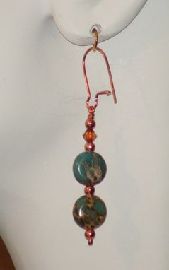Custom Made Aqua Terra Jasper And Swarovski Crystal Earrings In Copper