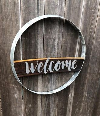Custom Made Wine Barrel Hoop Sign With Welcome