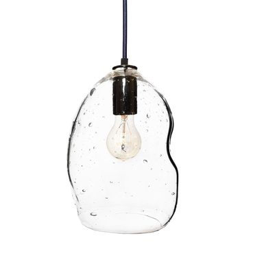 Custom Made Bubble Seeded Hand Blown Glass Pendant Light- Black