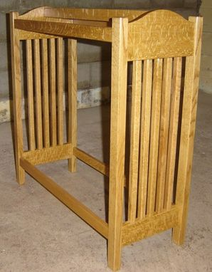 Custom Made New Solid Quarter Sawn Oak Wood Mission Style Quilt Rack Stand