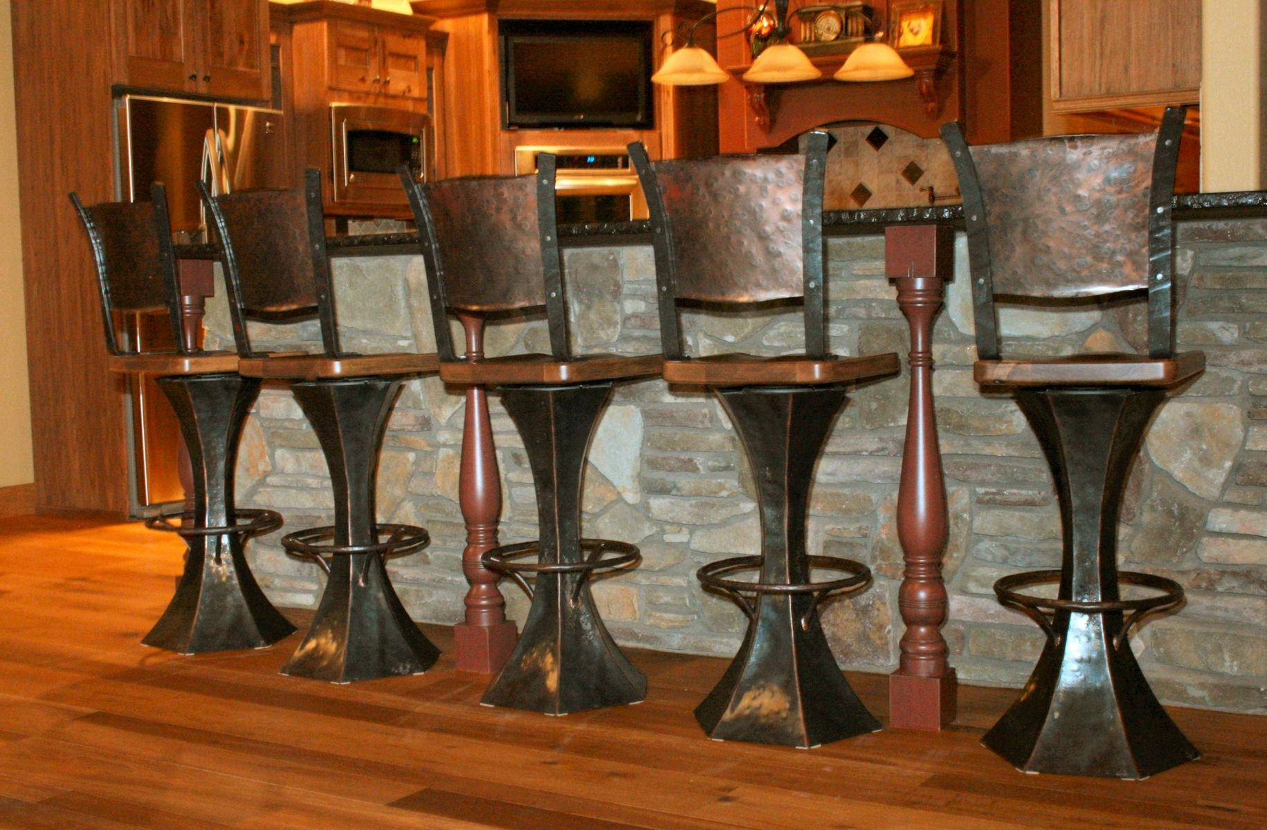 Hand Crafted Ball Peened Stools By Iron Mountain Anvil