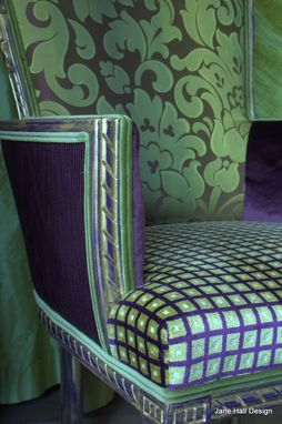 Custom Made Upholstered Chair Carved Victorian Asymmetrical Arm Chair