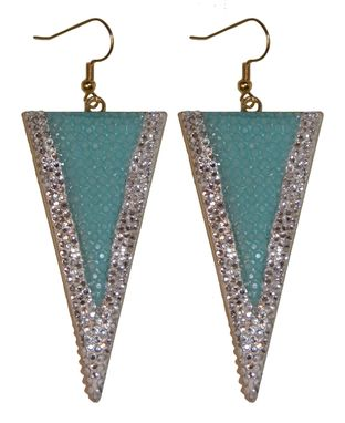 Custom Made Swarovski Triangle Dangle Earrings In 14k Gold Plate