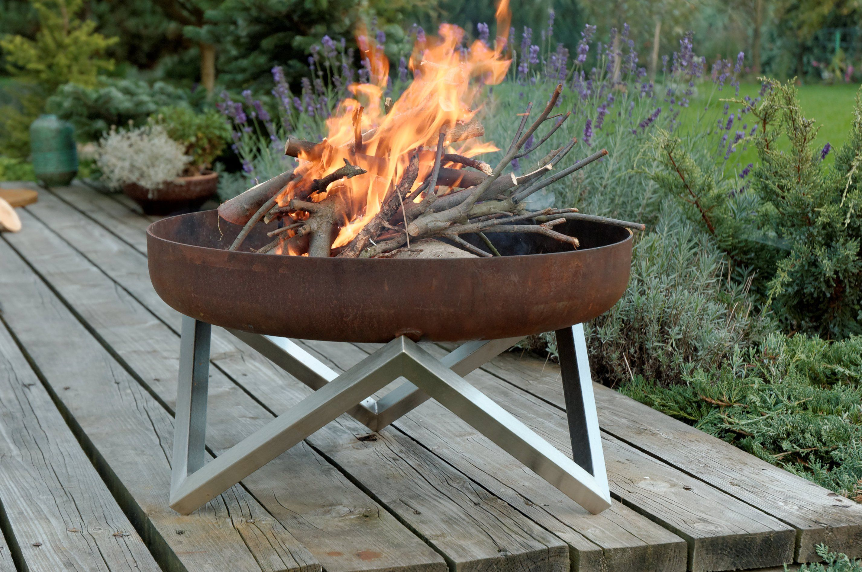 Buy a hand made rust stainless steel modern outdoor for Outdoor modern fire pit