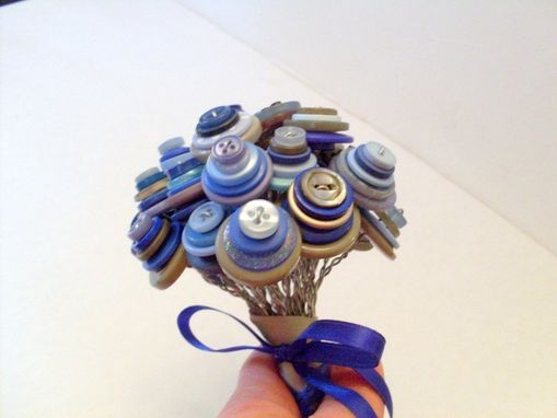 Custom Made Blue And Grey Buttons Bridal Bouquet