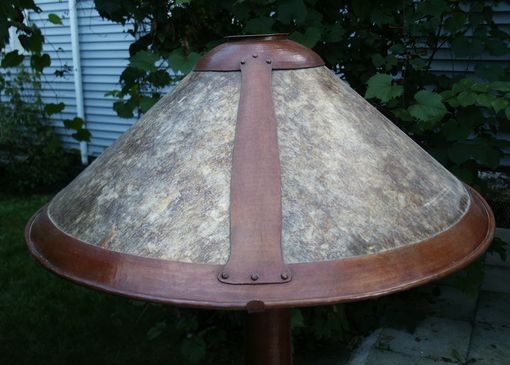 Custom Made Arts & Crafts Style Hammered Copper Floor Lamp With Mica Shade