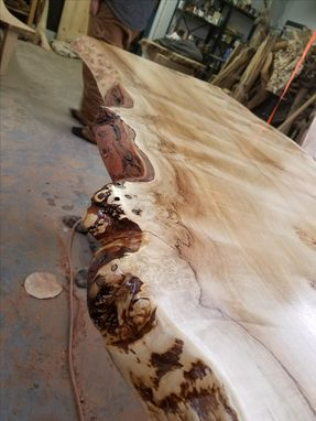 Custom Made Burl Maple Live Edge Slab Dinning Table
