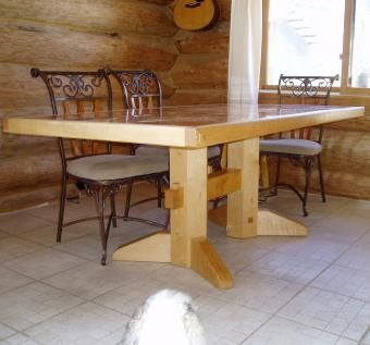 Custom Made Marble And Maple Kitchen Table by Huisman ...