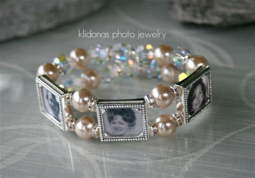 Custom Made Photo Charm Generation Bracelet For Weddings With Champagne Pearls And Crystal Rhinestones