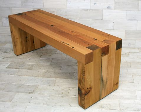 Custom Made Reclaimed Cedar Box Joint Bench/Coffee Table