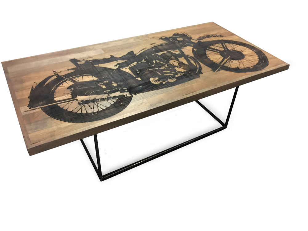 custom made etched motorcycle coffee table by lionallife. Black Bedroom Furniture Sets. Home Design Ideas