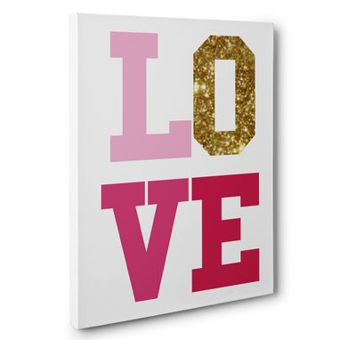 Custom Made Pink And Glitter Love Canvas Wall Art