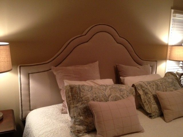 Custom Made King Arched Upholstered Headboard Natural Linen Antique Br Nailhead