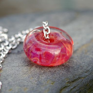 Custom Made Glass Bead Necklace Boro Lampwork Focal Large Handmade Pink Orange Pendant Jewelry - Tequila Sunrise
