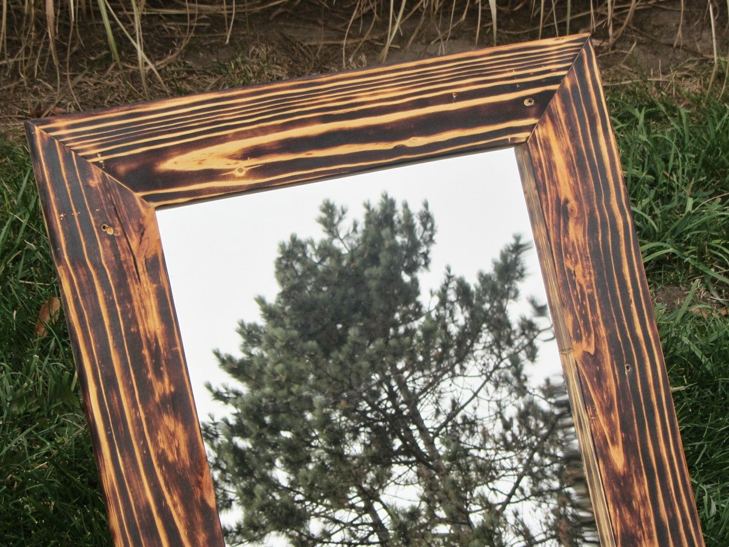 Hand made mirror 23x27 with wood frame any size for Unique mirror frames
