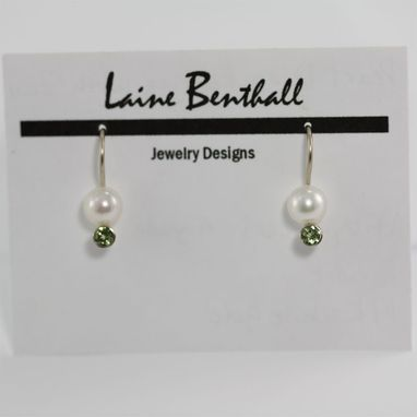 Custom Made White Gold Pearl Drop Earring With Stone (Peridot) 14kw (Made To Order)